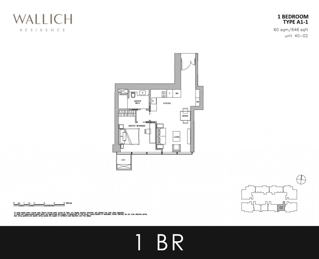 Wallich Residence Condo 1 Bedroom Type A1 Floor Plans