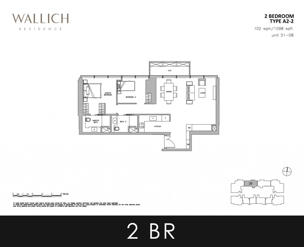 Wallich Residence Condo 2 Bedroom Type A2-2 Floor Plans