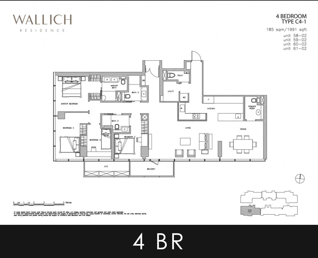 Wallich Residence 4 Bedroom Type C4-1 Floor Plans