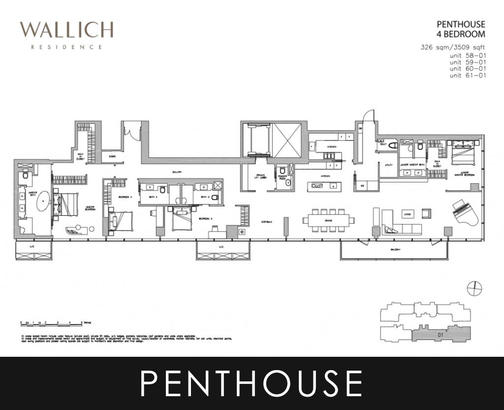 Wallich Residence Penthouse 4 Bedroom Floor Plans